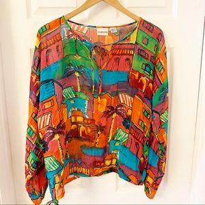 Chico's | 100% Silk Blouse Bright Pullover 12/14